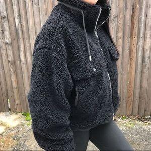 Forever 21 Black Sherpa Jacket Sz L